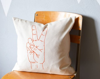 Throw Pillow - Throw Pillow Cover - Screen Printed Pillow Cover - Peace - Canvas Pillow Case - Kids Room - Decorative Pillows - Nursery