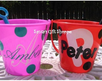 Easter Bucket Decals,Vinyl Decals, Personalized, Monogrammed Initial/Name plus Dots, BUCKET NOT INCLUDED ,Children, Summer, Beach