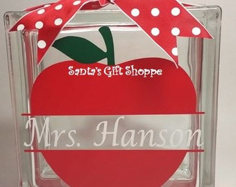 Teachers Glass Block, Teacher Appreciation, End of School Gift, Christmas Gift, approx.6.5W x 6.5H, (GLASS NOT INCLUDED