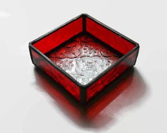 Stained Glass Jewelry Box in Red & Clear Textured Glass