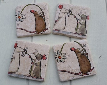 Country Mouse  Stone Coaster Set of 4 Tea Coffee Beer Coasters