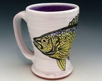 Fish Mug with Handpainted Crappie and Purple Inside, Wheel Thrown Fishing Mug, Speck Fishing, Fishing Decor, For the Fisherman, Fish Art.