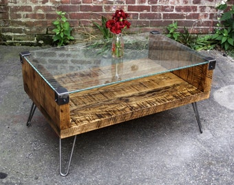 Oak and Wire Glass Coffee Table