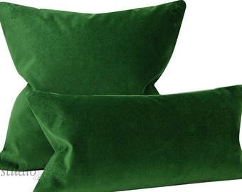 Emerald Green Velvet Pillow Cover - Pick Your Size - velvet pillow cover - green velvet -  made to order