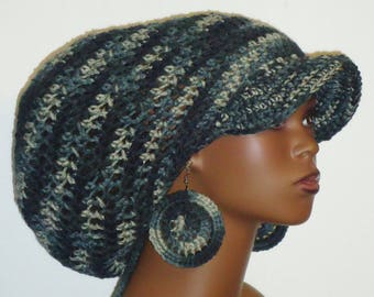 City Chick Large Brimmed Cap Hat with Drawstring and Earrings Dreadlocks by Razonda Lee Razondalee