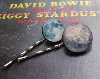 full moon hair clip set - 2 hair pins . blue moon hairpins jewelry . bohemian hair accessories