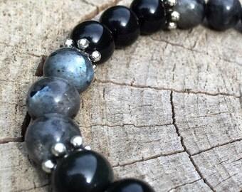 UNBOUND- Labradorite and Black Obsidian Wrist Mala Bracelet.