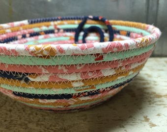 Cloud 9, Foxglove, CottonPottery Fabric Coiled Bowl/Basket