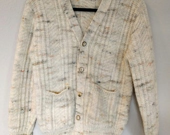 Mens Vintage 1960's Pendleton Cardigan Button-up Sweater Pure Virgin Wool Large