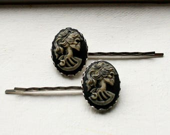Skull Cameo Bobby Pins Skeleton Cameo Hairpins Girly Skull Zombie Girl