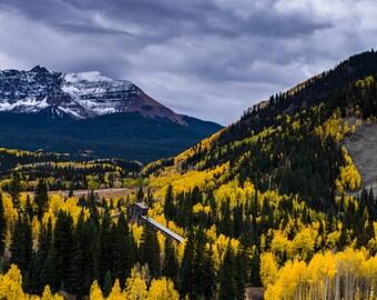 Flat Top Mountain in Fall, Colorado Art, Colorado Photography, Mountain Art, Aspen Tree, Rustic, Country, Fine Art Color Photograph