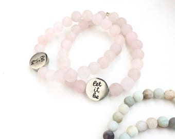 Let It Be Silver Quote Bracelet Beaded with Rose Quartz or Amazonite Gemstone Beads