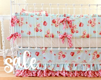 SALE Shabby Chic Roses Baby Girl Bedding Set , Cottage style nursery, antique roses floral baby bedding, Shabby Chic Nursery, floral bumper