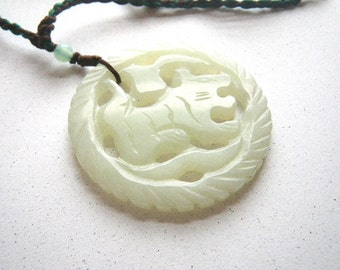 Pale Green Carved Jade Tiger Necklace Choker with Knotted Cord