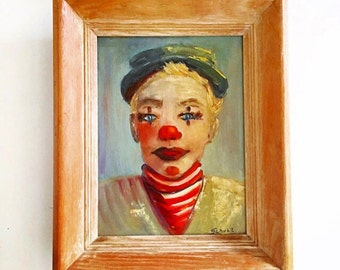 Vintage Child Clown Original Painting