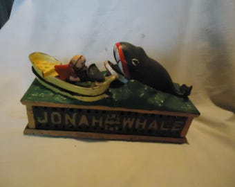 Vintage Jonah and the Whale Cast Iron Bank, collectable
