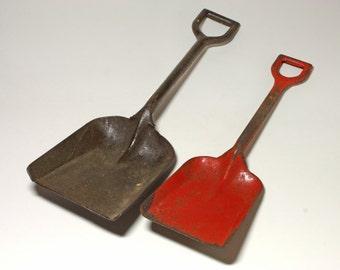 Vintage Large Metal Shovel and Red Toy Sand Shovel - circa 1940's