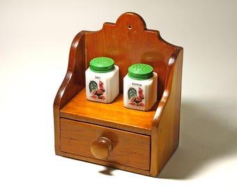 Vintage Wooden Kitchen Shelf, Spice Shelf, Handmade Shelf - circa 1960's