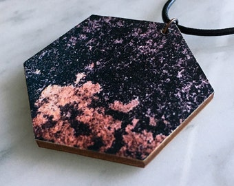 SALE 25% OFF - Wooden pendant, hexagon, faux grunge rock texture, black, copper, leather cord, style 47
