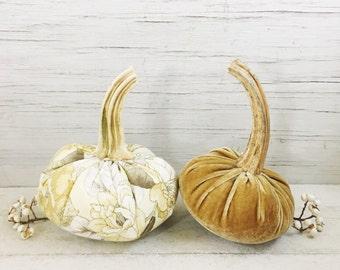 Velvet and Floral Pumpkin Set of 2