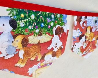 The POKY LITTLE PUPPY'S First Christmas Banner Little Golden Book Bunting Christmas Decor Children's party upcycled storybook banner