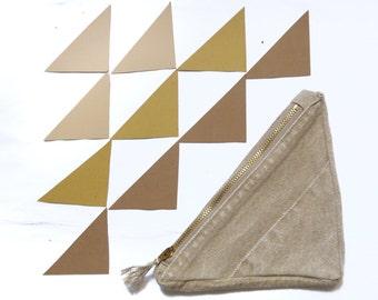 Khaki Revival Right Angle Coin Pouch Wallet - recycled jeans patchwork pouch with zipper, fully lined