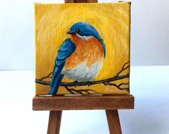 "BLUE BIRD Original Painting 3""x3"" Miniature Bird Painting Mini Easel"
