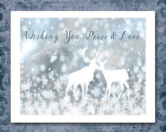 Snowy Christmas Card With Two Deer, Wishing You Peace and Love, Bokeh Snowflakes, Choose Your Saying, Made to Order, Custom Personalized
