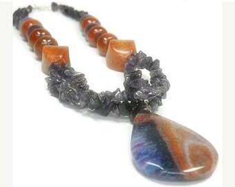 Sale| Amethyst and Fire Agate Necklace, Dragon Vein Pendant, Purple, Orange, Amethyst Jewelry, Mixed Gemstones, February Birthstone, Boho, O