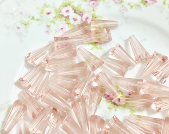 Glass Cone Beads, Transparent Pink with AB Iridescent, Crystal, 16mm x 8mm, 2mm Hole, 12 pieces (Su3)