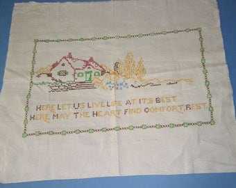 Vintage Embroidered Sampler Home With Motto X Stitch Full Linen Panel