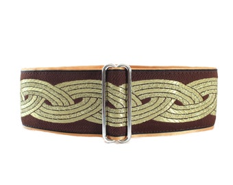 Brown Martingale Collar, Celtic Martingale Collar, Jacquard, Celtic, Knot, Greyhound Collar, Celtic Dog Collar, Greyhound Martingale