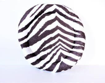 Animal Print Flying Disc Dog Toy - Printed Felt Flying Saucer Dog Toy - Zebra/Leopard/Tiger Durable Dog Toy -  Small/Large - Non-Squeaky