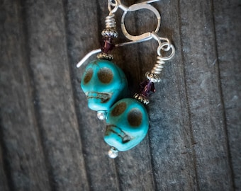 Earrings Day of the Dead Skulls in Turquoise