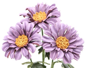 Leather Flower Dasies Lilac Leather Daisy Gerbera Bouquet Third Wedding Anniversary Gift Long Stem Flower 3rd Leather Anniversary