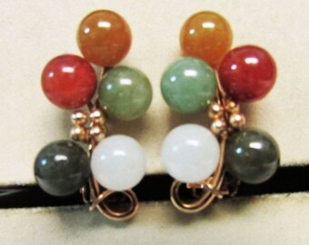 On Sale Vintage Estate Beautiful  Ming's of Honolulu 14k Gold 10 Multi color Jade Pierced Earrings