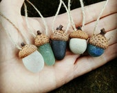 SEAGLASS ACORN SET - © Scottish Beach Finds - Christmas Tree Decoration - Eco Friendly - Handmade