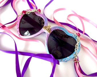 Disney Princess Aurora Sleeping Beauty Inspired Heart Shaped Sunglasses With Crown