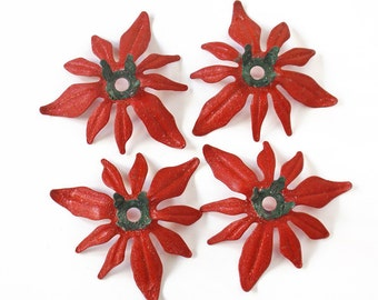 Vintage Poinsettia Candle Holders Set of 4