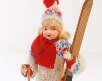 Vintage Ronnaug Petterssen Style Norway Ski Doll Handpainted