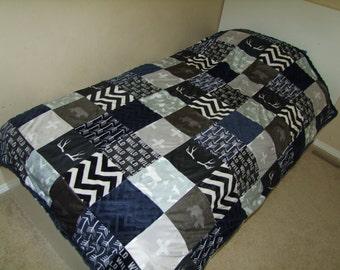 Bear Moose Blanket - Outdoors Bedding - Deer Head Minky Blanket - Arrow Blanket -Twin, Double, Queen or King Size Blanket- Ships in 1-3 Days