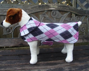 Dog Jacket - Pink and Black Argyle Sweater Knit Dog Coat- Size Small- 12-14 Inch Back Length
