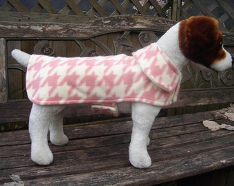 Dog Jacket - Pink and Cream Houndstooth Fleece Dog Coat- Size Small- 12-14 Inch Back Length
