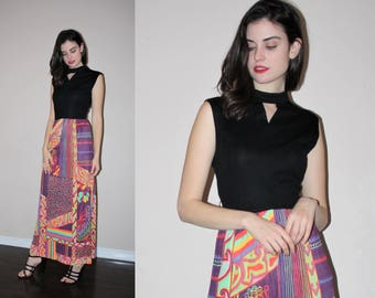 Vintage 1960s Graphic Mod Psychedelic Abstract Neon Paisley Maxi Dress - 60s Maxi Dresses - W00753
