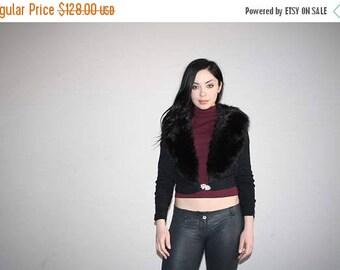On SALE 40% Off - Vintage 50s Thick Fur Collar Rhinestone Broch Cardigan Sweater - 1950s Fur - 50s Clothing - WV0177