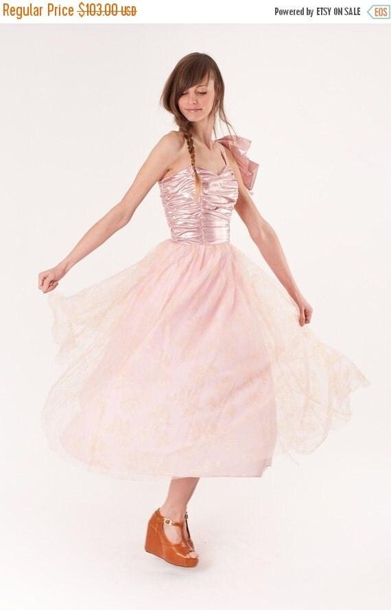 Final SALE 85% Off - Metallic / Dress / 1980s Dress / Party Dress / Pink Dress / Prom Dress / Wedding Dress / Lame / 0264