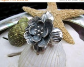 Valentines Sale Sterling Silver 3D Lotus Flower Ring 11.77 grams Size 8