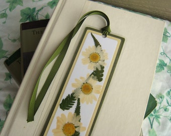Bookmark Pressed Flower Daisy and Fern Leaves Floral Collage Laminated
