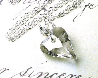 ON SALE The Swarovski Wild Heart Crystal Pendant in Silver Crystal - Handmade wit h Swarovski Crystal and Sterling Silver