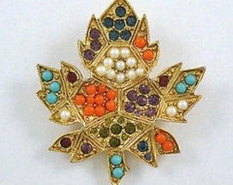 Vintage 1960's BIJOUX D'ORLAN Rare Multi Stone Maple Leaf Brooch